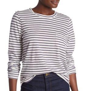Striped Long Sleeve Pocket Tee (NWT)